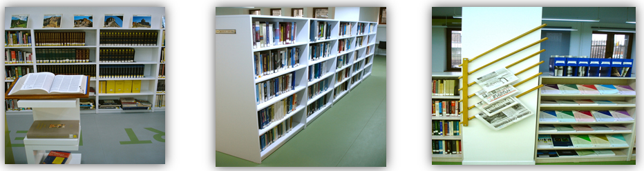 Pictures of the Book Shelves and Newspaper Holders in the library